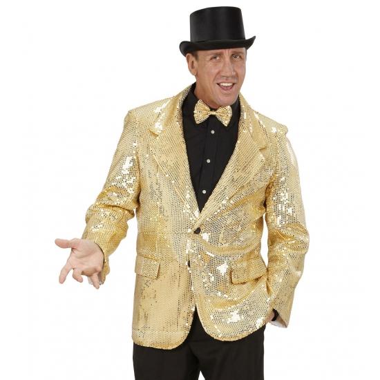 Verkleedkleding Colbert pailletten goud