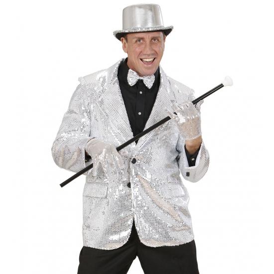 Verkleedkleding Colbert pailletten zilver