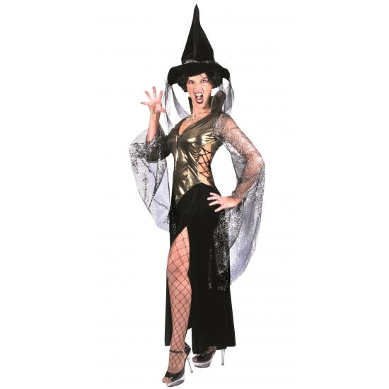Verkleedkleding Complete heksen jurk zwart/goud