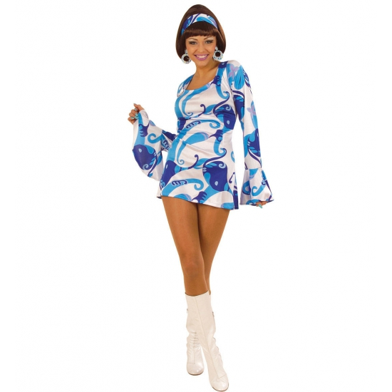 Verkleedkleding dames hippie jurkje blauw