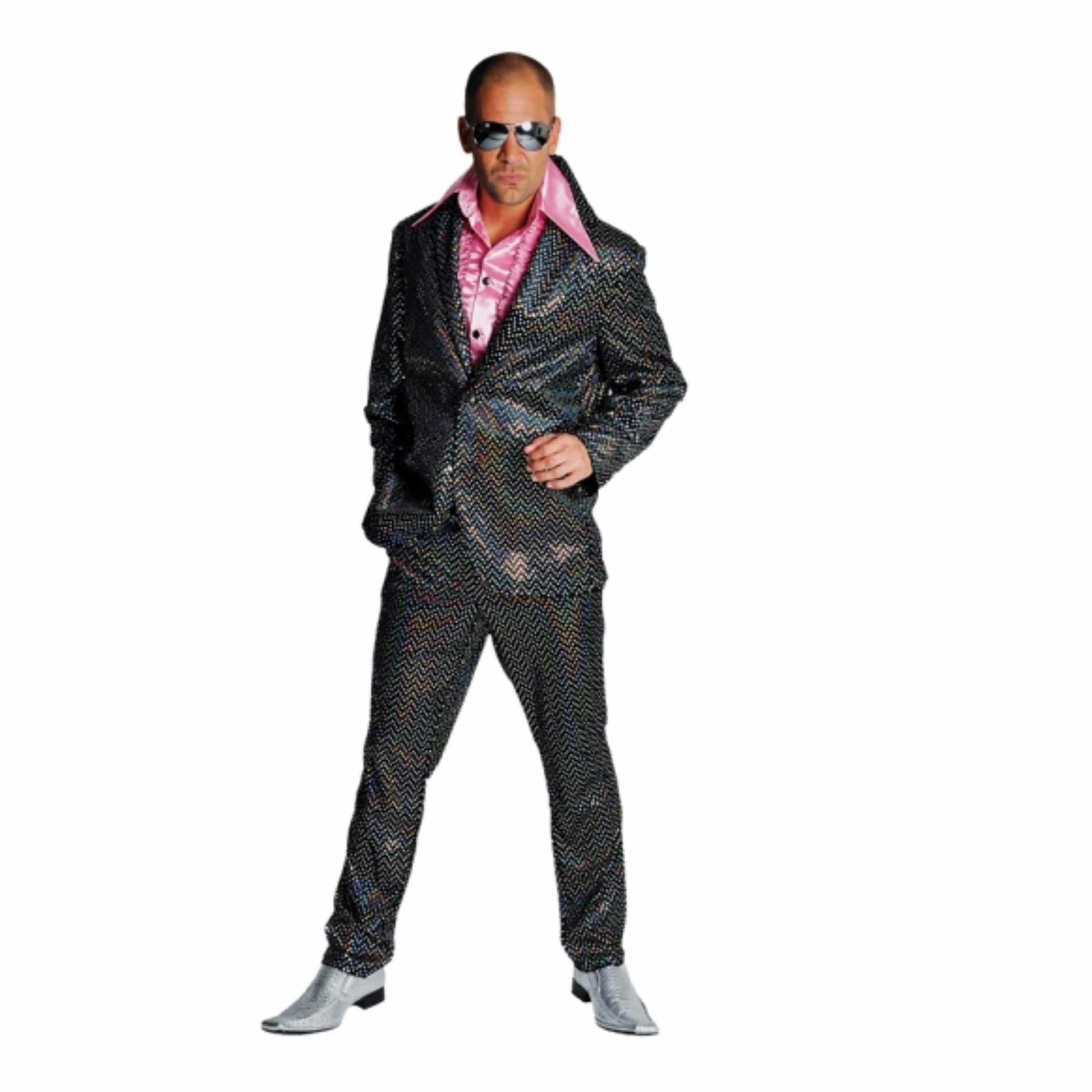 Verkleedkleding Disco kostuum heren zwart