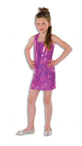 Verkleedkleding disco thema roze jurkje voor kids