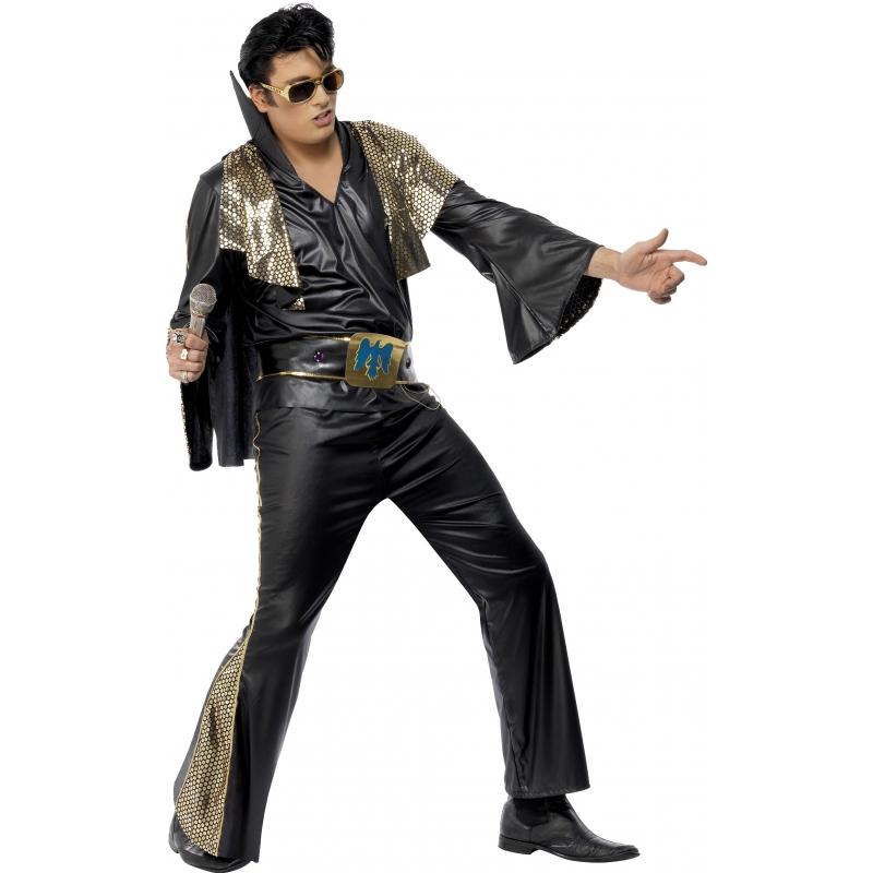 Verkleedkleding Elvis kostuum zwart/goud