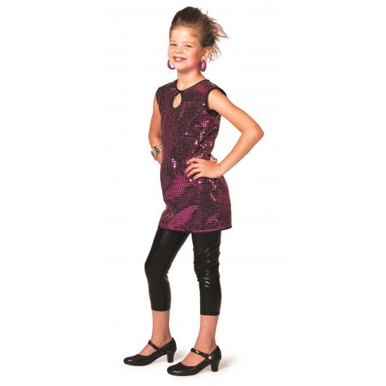 Verkleedkleding Glitter jurk paars meisjes