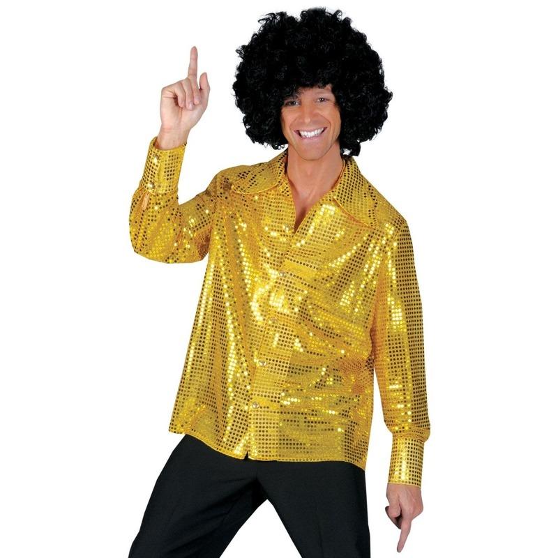 Verkleedkleding gouden pailletten blouse heren
