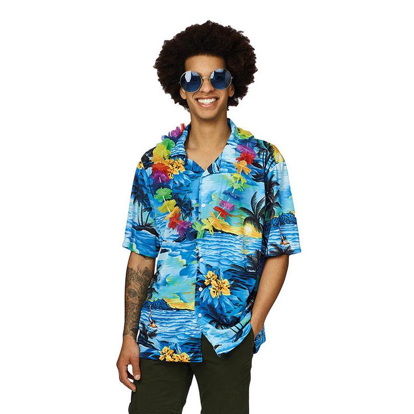 Verkleedkleding Hawaii shirt blauw met palmbomen