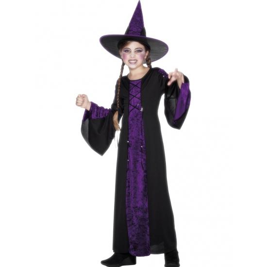 Verkleedkleding Heksen kinder kostuum zwart/paars