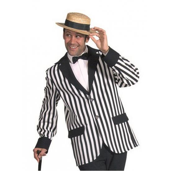Verkleedkleding Heren colbert zwart/wit gestreept