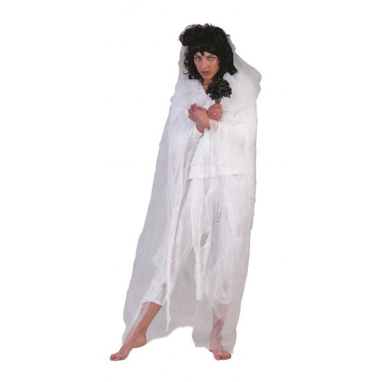 Merkloos Verkleedkleding Horror cape wit