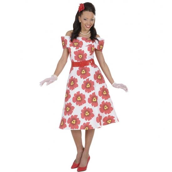 Verkleedkleding Jaren 50 bloemetjes jurk