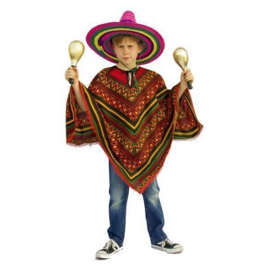 Merkloos Verkleedkleding kind Voordelige Mexicaanse poncho