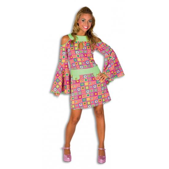 Verkleedkleding Kleurrijk disco jurkje