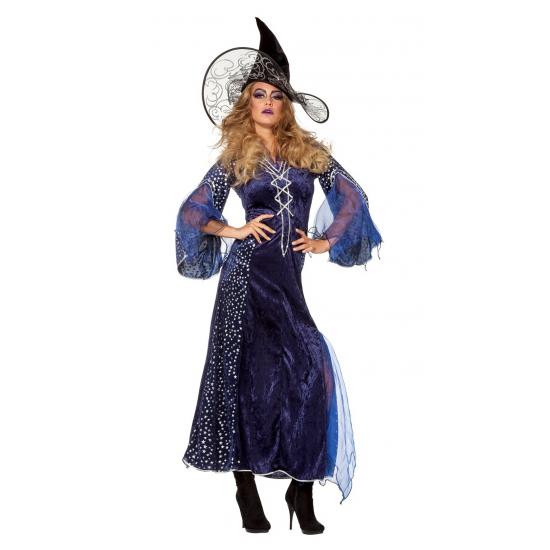 Verkleedkleding Lange heksenjurk dames blauw