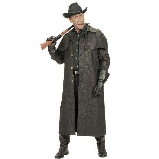 Verkleedkleding Lange zwarte cowboys jas