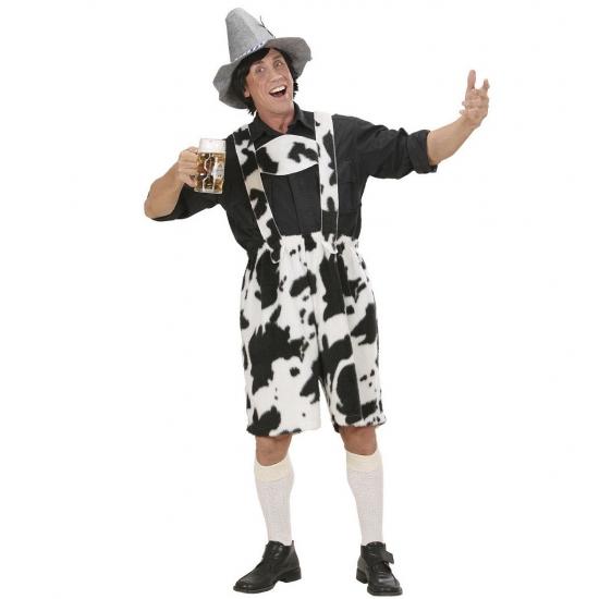 Verkleedkleding Lederhose met koe print