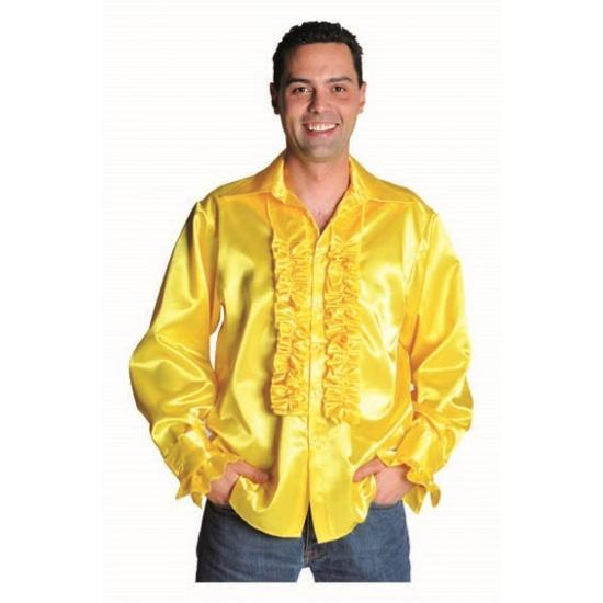 Verkleedkleding Luxe rouches blouse geel