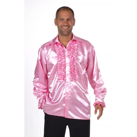 Verkleedkleding Luxe rouches blouse lichtroze