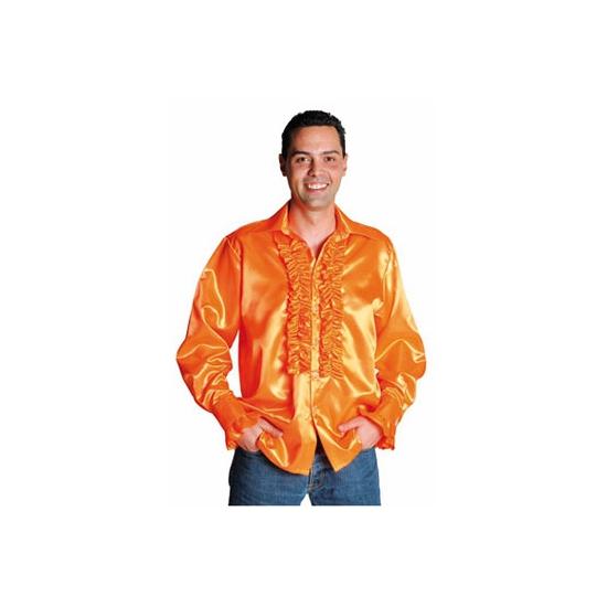 Verkleedkleding Luxe rouches blouse oranje