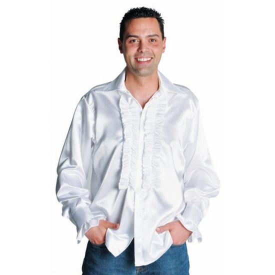 Verkleedkleding Luxe rouches blouse wit
