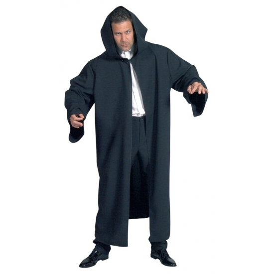 Verkleedkleding Luxe zwarte mantel