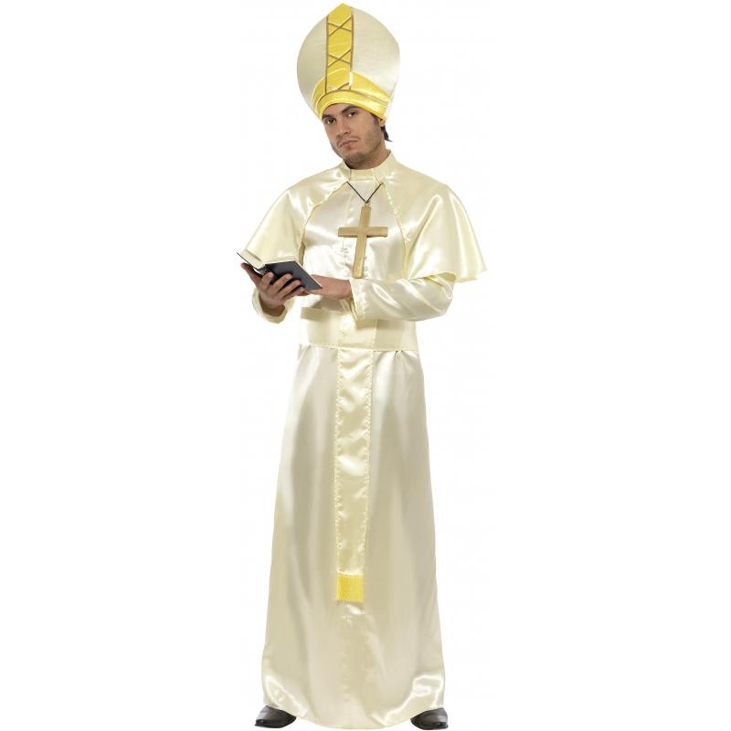 Verkleedkleding Paus kostuum wit en goud