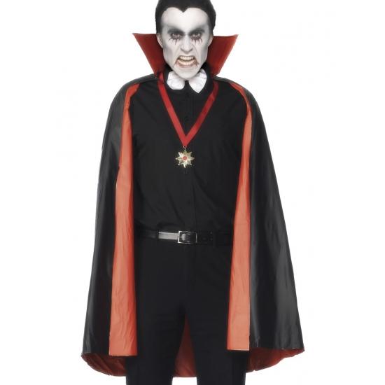 Verkleedkleding PVC dubbelzijdige cape rood/zwart