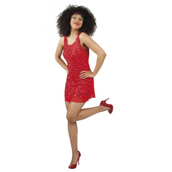 Verkleedkleding rood jurkje met decoratie steentjes