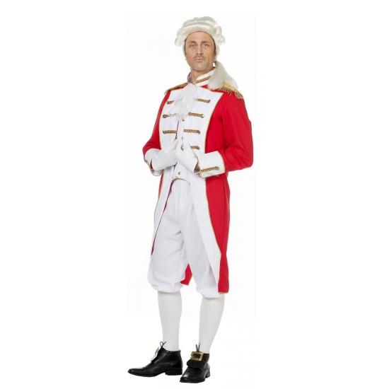 Verkleedkleding rood wit lakei kostuum