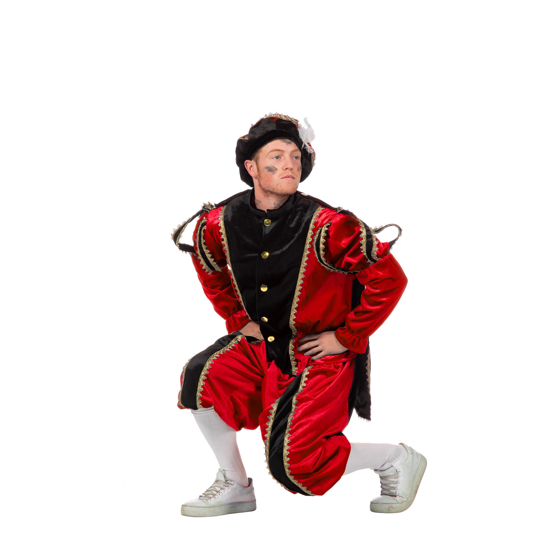 Verkleedkleding Rood/zwarte pieten kostuum fluweel