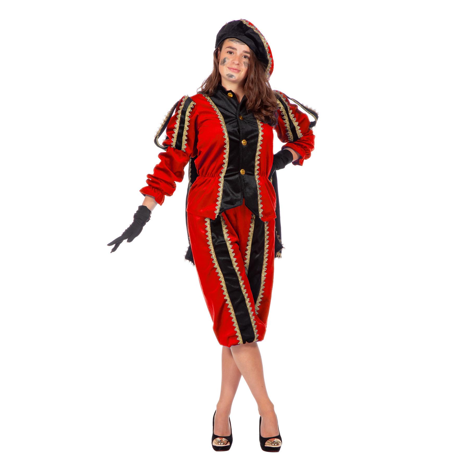 Merkloos Verkleedkleding Rood/zwarte pieten kostuum fluweel