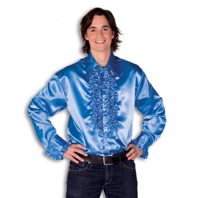 Verkleedkleding Rouche overhemd voor heren blauw