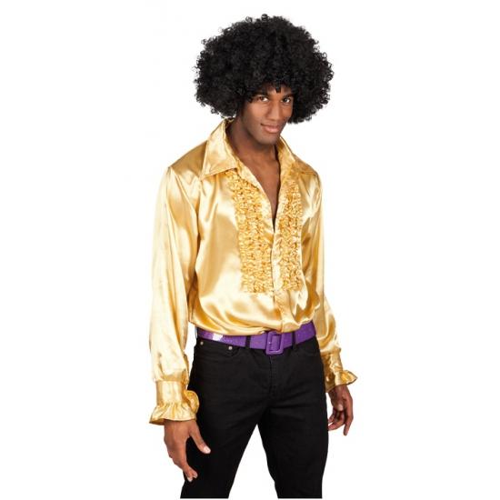 Verkleedkleding Rouche overhemd voor heren goud