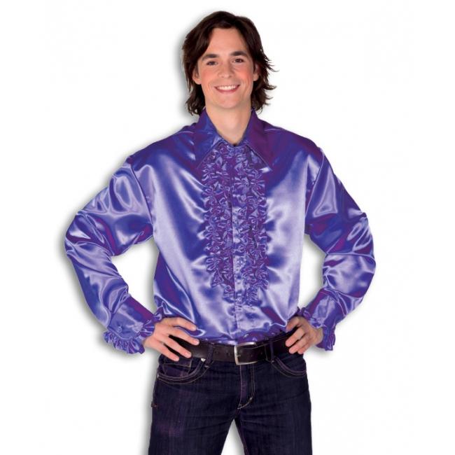 Verkleedkleding Rouche overhemd voor heren paars