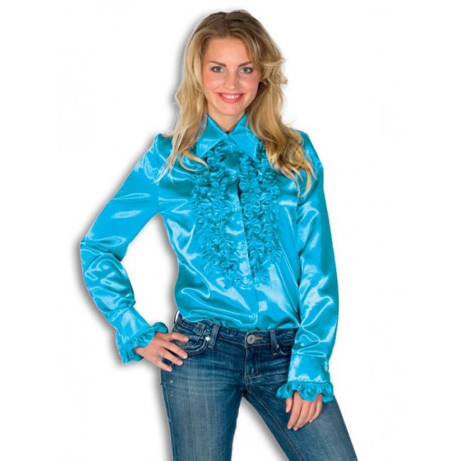 Verkleedkleding Rouches blouse blauw dames