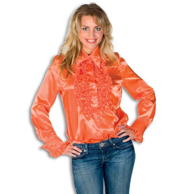 Verkleedkleding Rouches blouse oranje dames
