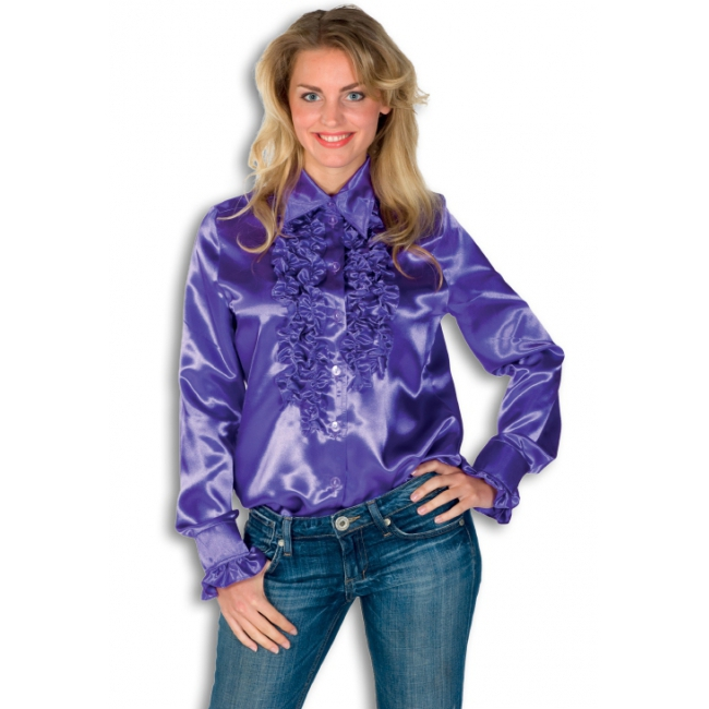 Verkleedkleding Rouches blouse paars dames