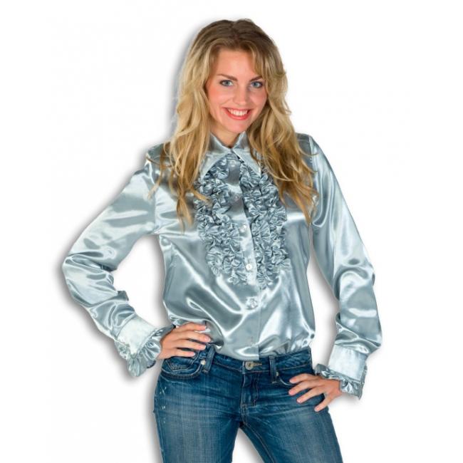 Verkleedkleding Rouches blouse zilver dames