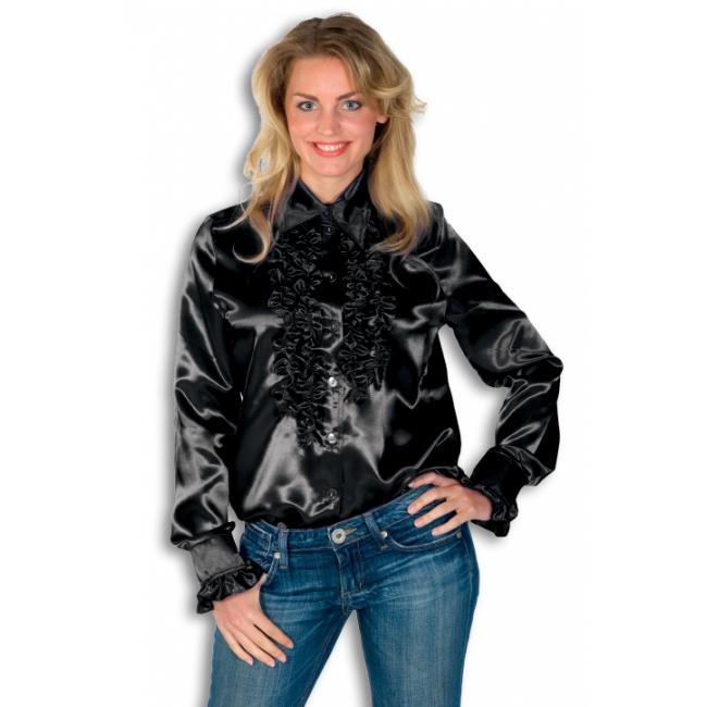Verkleedkleding Rouches blouse zwart dames