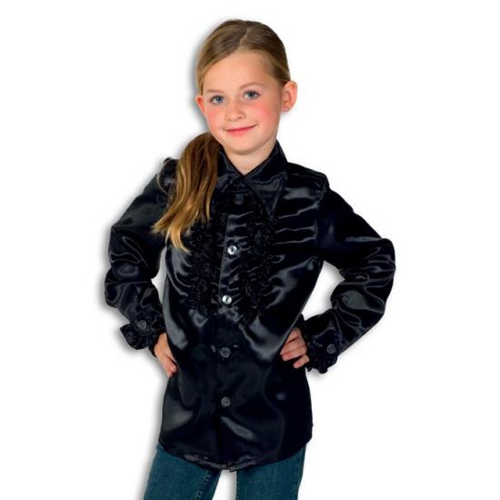 Verkleedkleding Rouches blouse zwart voor jongens