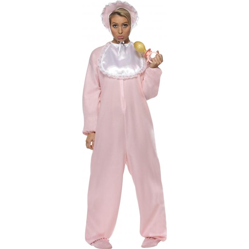 Verkleedkleding Roze baby kostuum voor volwassenen