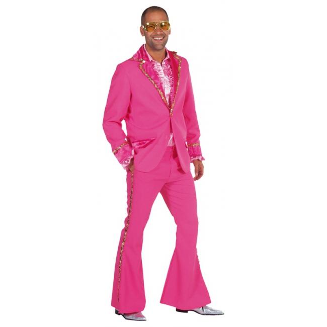 Verkleedkleding Roze Bling Bling kostuum heren