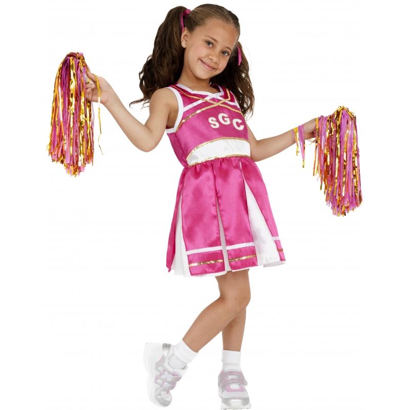 Verkleedkleding Roze cheerleader meisjes kostuum