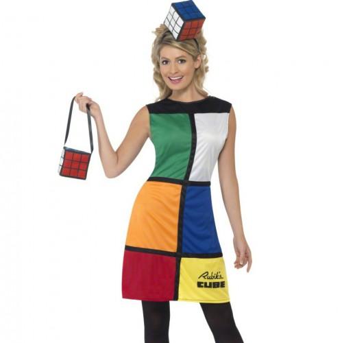 Verkleedkleding Rubiks kubus jurk met hoed en tas
