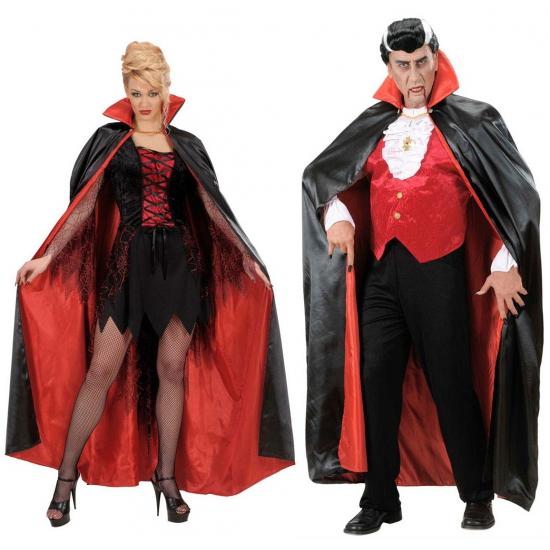 Verkleedkleding Satijnen cape zwart/rood