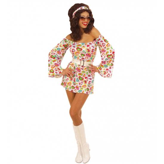 Verkleedkleding Seventies jurkje met hartjes print