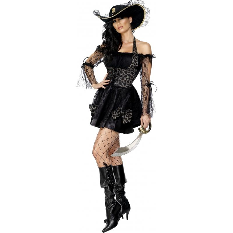 Verkleedkleding Sexy piratenjurkje zwart