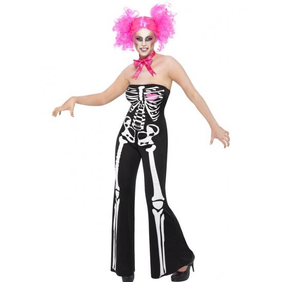 Verkleedkleding Skelet jumpsuit voor dames