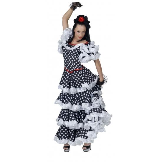 Verkleedkleding Spaanse flamenco jurk zwart/wit