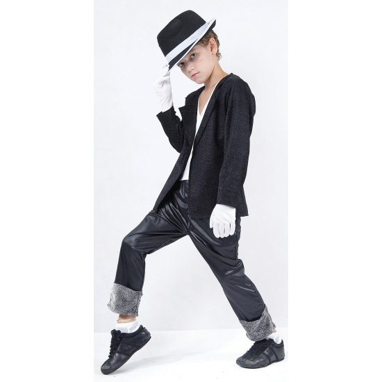 Verkleedkleding Superstar Michael kostuum met hoed voor kids