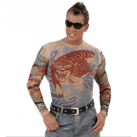 Verkleedkleding Tattoo shirt tijger en draak